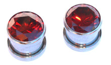Pair Red Gem Bling Screw Surgical Steel Ear Plugs Tunnels Gauges 00g 0g 2g 4g 6g