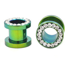 Pair Screw Green Titanium Gem Gauges Tunnels Steel Ear Plugs 8g 6g 2g 0g