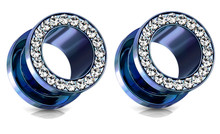Pair Screw Blue Titanium Gem Gauges Tunnels Steel Ear Plugs 0g 4g 6g