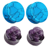 "Turquoise and Purple Amethyst Stone Rose Plugs Gauges Ears 2g 0g 00g 1/2"" inch"
