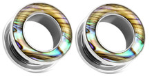 Pair Surgical Steel Abalone Shell Screw Fit Steel Tunnels Ear Plugs Gauges