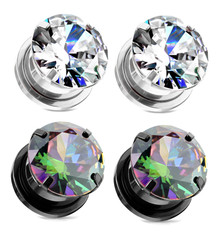 2 Pairs Screw Fit CZ Cubic Zirconia Gem Plugs Black Plated Steel Rainbow gauges