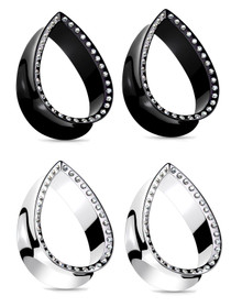 2 Pairs CZ Cubic Zirconia Gem Plugs Black Plated Steel Oval Tear Drop gauges