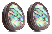 Pair Abalone Shell Teardrop Organic Wood Plugs Ear Gauges 0g 00g 1/2 9/16 5/8