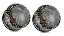 Pair Glitter Galaxy Glass Saddle Plugs Ear Gauges pyrex 0g 1/2 00g 9/16 5/8 inch