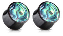 Pair Abalone Shell Organic Buffalo Plugs Ear Gauges 2g 0g 00g 7/16 1/2 9/16 5/8
