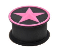 """Pair 1/2"""" 12mm Pink Star Black Silicone Squishy Double Flare Ear Plugs Gauges"""