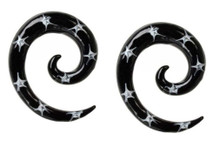 Pair 0g or 2g Black White Star Ear Spirals Tapers Gauges 8mm 6mm