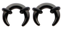 Pair 1g 7mm Black Steel Ear Plugs Tunnels Tapers Pinchers Horseshoes Gauges Septum