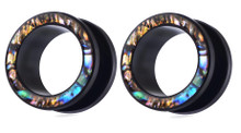 Pair Black Surgical Steel Abalone Shell Screw Fit Steel Tunnels Ear Plugs Gauges