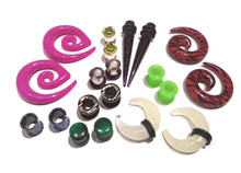 8 Pair Mix Ear Plugs Tapers Spirals Tunnels Acrylic Steel Organic Gauges 8g-5/8""