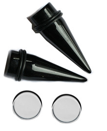 1 inch 25mm Pair Black Tapers Clear Plugs gauges ear stretching kit gauging