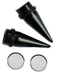 1 inch 25mm Pair Black Tapers Clear Plugs gauges ear stretching kit gauging