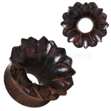 "Pair Organic Wood Hand Carved Lotus Flower Ear Plugs Tunnels Gauges 0g - 3/4"""