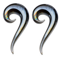 Pair 9/16 14mm Glass Metallic Gray Spirals Horseshoes Tapers Ear Plugs Gauges