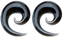 Pair 4g 6mm Gray Glass Spirals Tapers Ear Gauges plugs snails horseshoes
