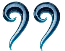 """Pair Blue Glass Ear Spirals 6g or 1/2"""" Tapers Gauges 4mm 12mm hangers horseshoes"""