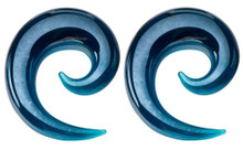 Pair Blue Glass Ear Spirals 7/16 or 9/16 Tapers Gauges 11mm 14mm hangers