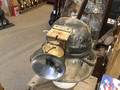SOLD  Antique miners leather helmet and carbide lamp.