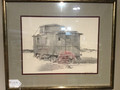 "Roy Gene Franks pencil drawing of an "" Pacific Electric"" Caboose"