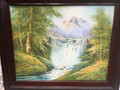 Painting,  Mountain water fall with snow covered mountain in background