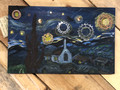"""Starry Star bike ride""with apologies to Vincent Van Gogh, wood, latex paint gears etc."
