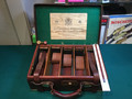 Holland & Holland leather and English oak ammo box, with railroad tag, 100 years old