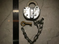 """ON HOLD Adlake Railroad lock with Brass Key. Marked """"PCRR"""""""