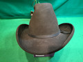 "Cowboy hat DOBBS WEST, Hand Creased 4, size 7 1/4"" dark olive some paint spots"