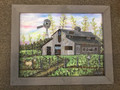 3-D mixed medium art, Barn with two deers with trees and wire fence