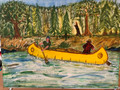 """Painting """" Yellow Canoe with camping gear """" by local Artist P.J. Gracyalny"""