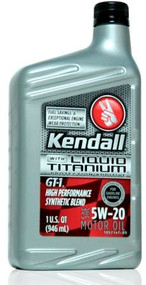 Kendall GT-1 High Performance Synthetic Blend 5w-20 | 12/1 Qt. Case