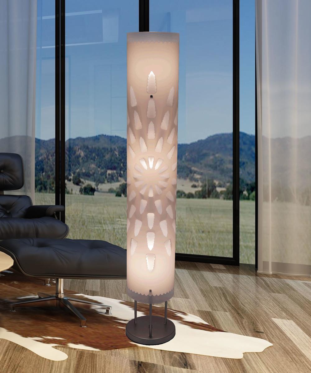 White floor lamp HBK002L modern contemporary art decor for living room,  bedroom, corner, teen, girl\'s room