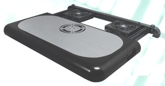 Retractible Triple Fan Notebook Cooling Pad with Aluminum Top Plate ATN-6158BK