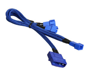 BitFenix BFA-MSC-M33F5VBB-RP (Blue) Alchemy Multisleeved 20cm 4Pin Molex Male to 3x 3Pin Fan Male 5V Adapter Cable