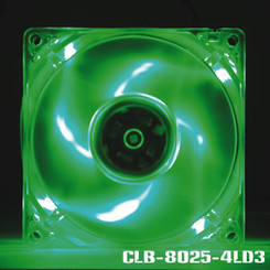 EverCool CLB-8025-4LD3 80x25mm 4 LED Fan (Green)