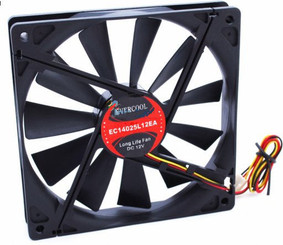 Evercool EC14025L12EA 140x140x25mm Slow Speed Fan, 3Pin