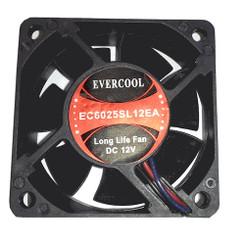 EverCool EC6025SL12EA 60x60x25mm Slow Speed Fan, 3Pin