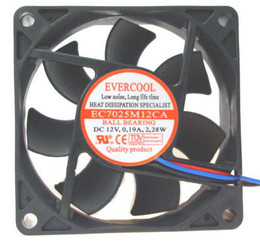 EVERCOOL EC7025M12CA 70x70x25mm 3pin Ballbearing case fan