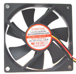 EverCool EC8015M12CA 80X80X15MM BALL BEARING FAN, 3Pin