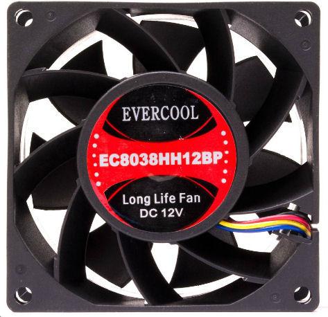 Evercool EC8038HH12BP 80mm x 38mm High Speed Ball Bearing DC 12v Fan 4 Pin PWM
