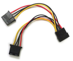 FC444 4Pin Molex POWER Y CABLE 6inch (4pin to 4pin and 4pin)