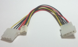CB-POWER-531-Y 8inch 4Pin Molex (M) to 4Pin Molex (F) & Floppy 4Pin (F) Cable