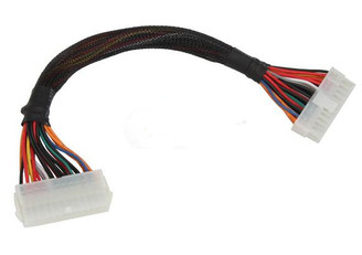 12NCH 24-pin to 24-pin ATX Extension Power Cable, Black Sleeved (White Connector)