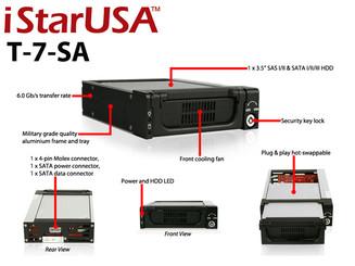 iStar T-7-SA 3.5inch SAS/SATA HDD 5.25inch Bay Aluminum Mobile Rack
