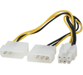 Kingwin PCI-03 8inch 2X4Pin Molex (M) to 6Pin (F) PCI Express Extension Power Cable