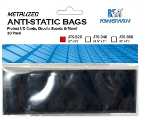 Kingwin ATS-B26 ANTI-STATIC BAG 2inx 6in, 10pcs/bag  ( For Memory Card )