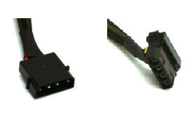 28inch 4pin (M) to 4 x 90 deg 4Pin (F) Cable, Black Sleeved