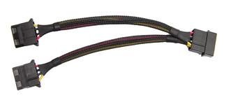 Okgear FC444BKS 6inch 4Pin Molex Power Y Split Cable - Black Sleeved
