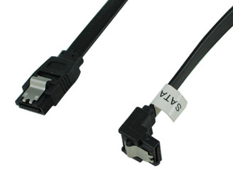 6inch SATA 3.0 6Gbs cable,straight to right, Black w/ metal latch